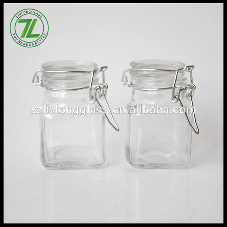 hot sale 90ml mini square glass clip top jar 3oz spice jar