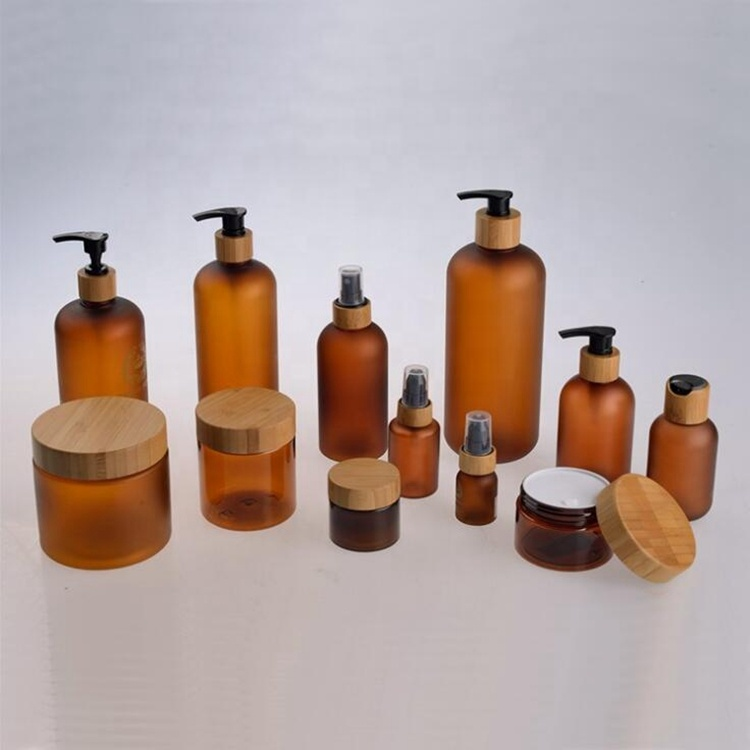Cosmetic Pump Spray Cream Glass Bottles with Bamboo Top Caps
