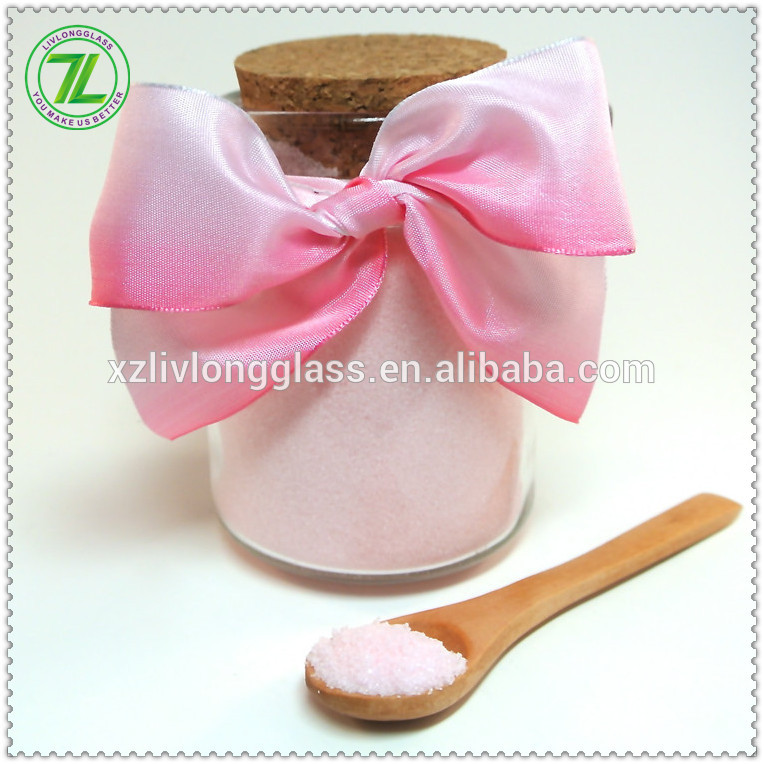 240mL bath salt jar with spoon 8oz glass body scrub jar bottle with wooden spoon