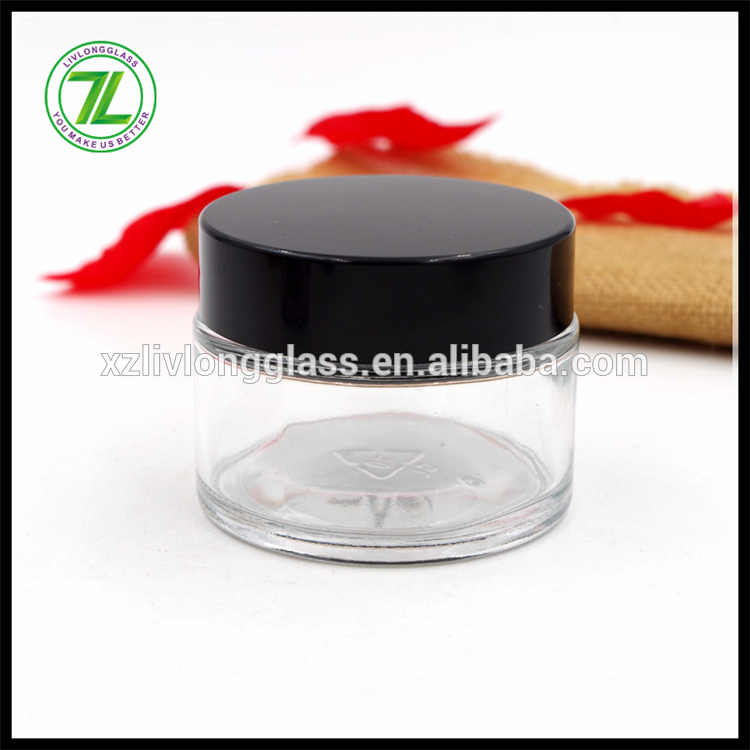 customize 50ml straight sided jar 1.75oz round glass jar with black plastic cap