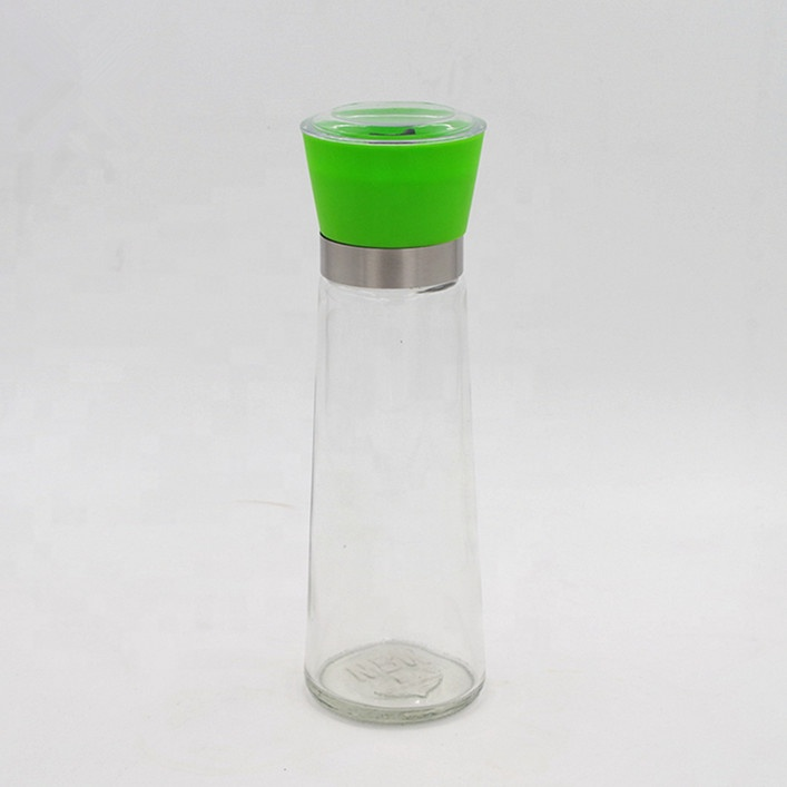 wholesale household  pepper mill grinder glass jar with green grinder spice glass jar Featured Image