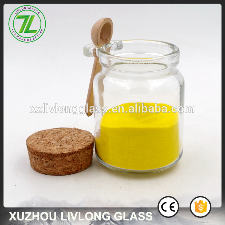 200ml Clear Sea Salt Glass Spice Jars with Wood Spoon