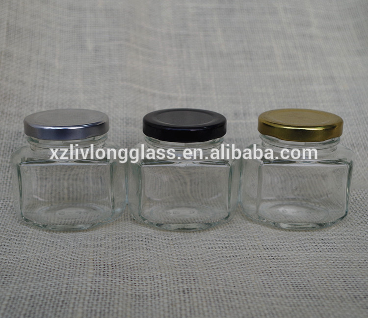 Glass oval Bottle Jar Jam bottle with metal cap