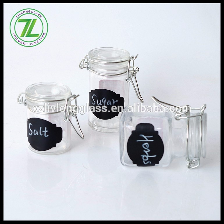 wholesale 50ml round salt jar 2oz glass herbs shakers with chalkboard label and clip cap