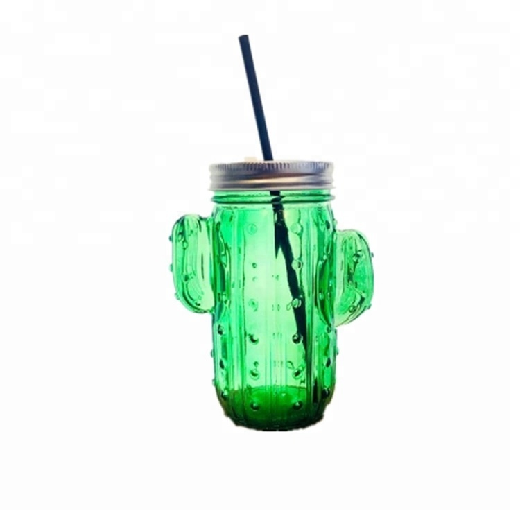 customize 350ml cactus shaped iced juice bottle 12oz special glass mason jar with screw top lid
