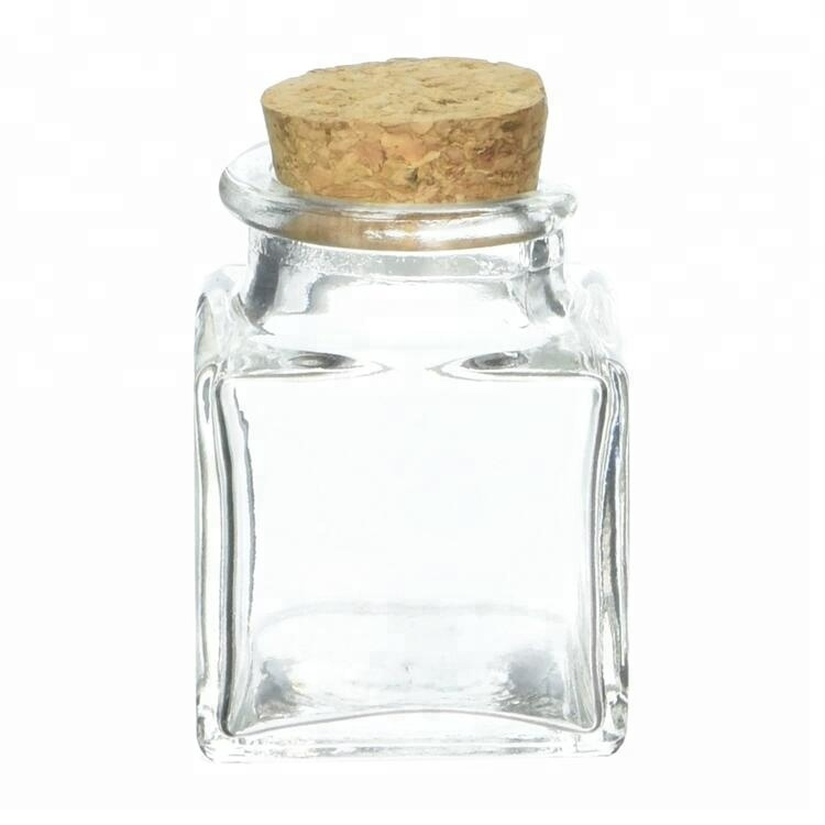 100ml Clear Square Glass Jars with Corks