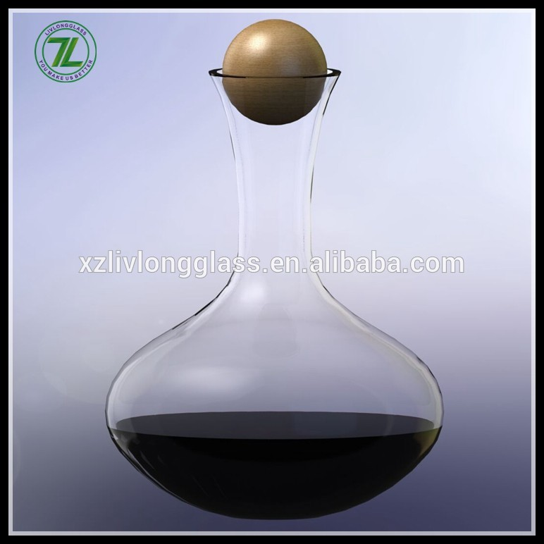 750ml Clear Man-made Glass Carafe Wine Decanter with Wood Cork