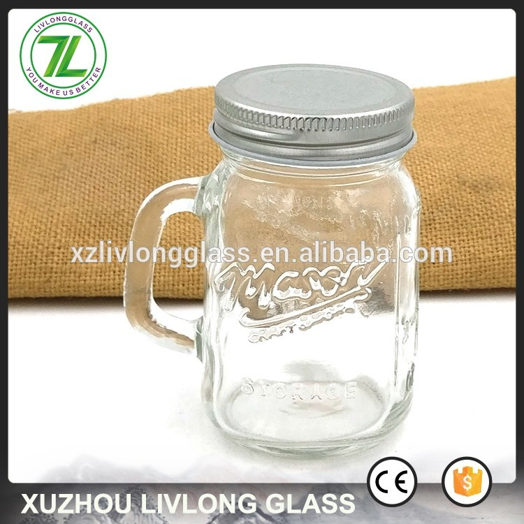 customize 120ml embossed cocktail jar 4oz small mason shots glass with handle
