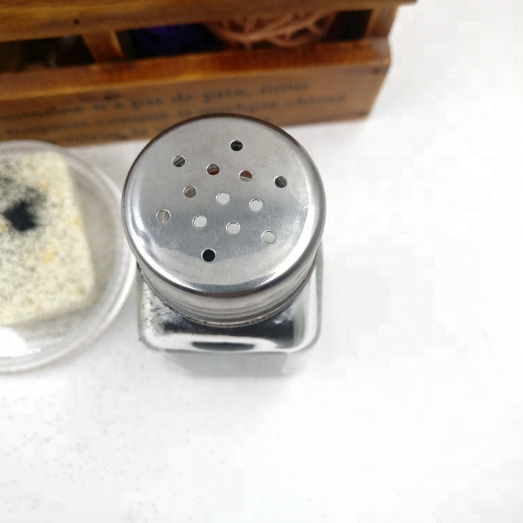 stainless steel cover with hole designs 80ml square glass spice jars with metal closure
