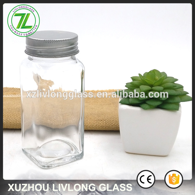 metal screw lids sealing type 120ml square salt bottle 4oz clear glass spice jars for black pepper