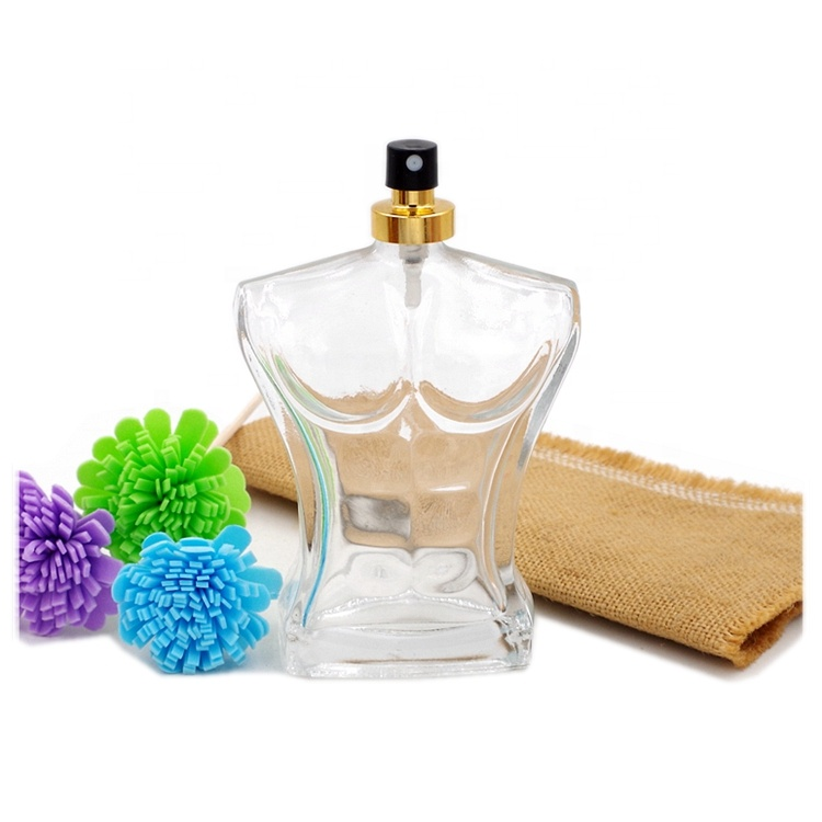 Fancy 110ml Man Body Shape Cosmetic Perfume Glass Bottle with Spray