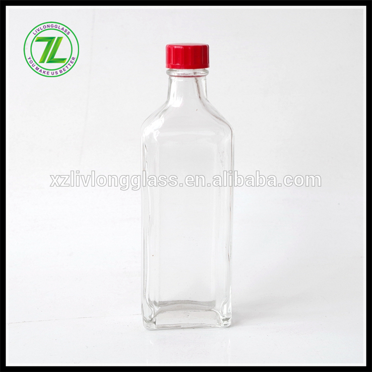 flat square 50ml pharmaceutical essential oil bottle with red cap