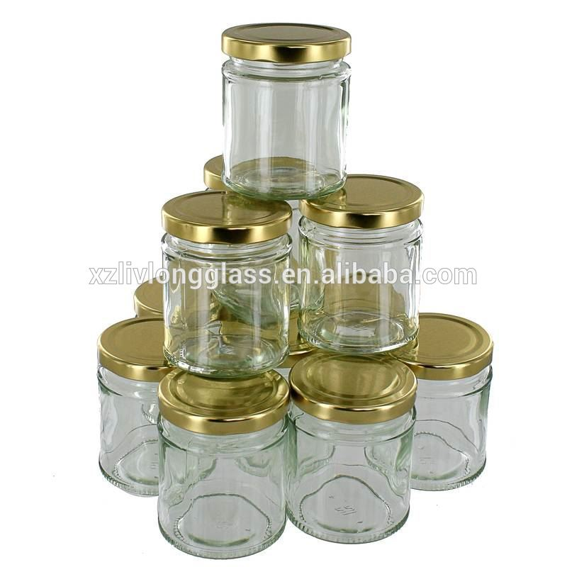 Empty Clear Glass Canning Mason Jar with Gold Metal Lid