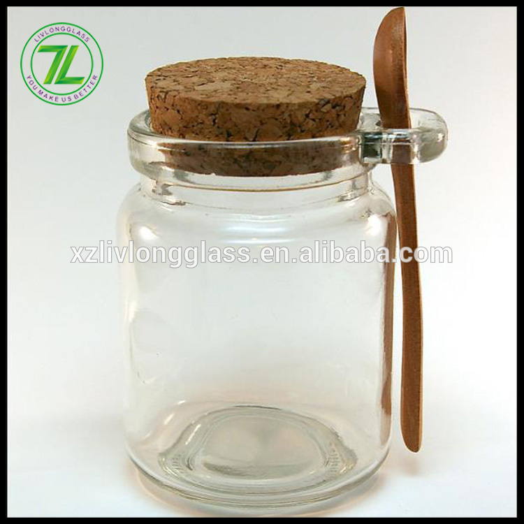 Factory For Empty Clear Glass Cosmetic Jar - customize 120ml 4oz milk pudding bottle 250ml glass jar with cork lid and spoon – LIVLONG