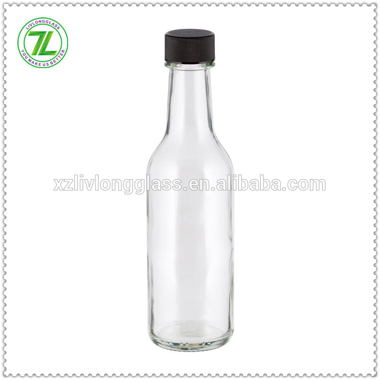 wholesale glass sauce bottle 5oz glass woozy bottle with black cap