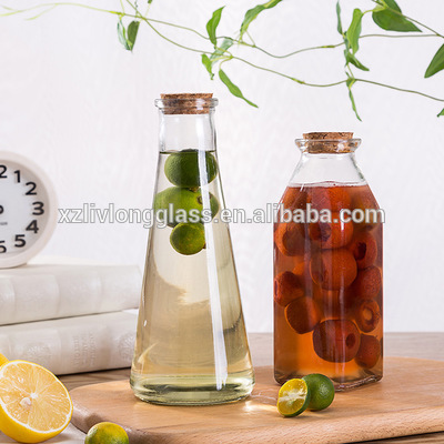 hot sale New ins aluminum cover clear glass beverage bottle juice  hand cold drink jar wine bottle350ml