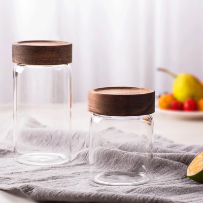 Wholesale sealed clear glass bottle tea can threaded acacia wood cover coffee storage tank food storage bottle 335ml 580ml