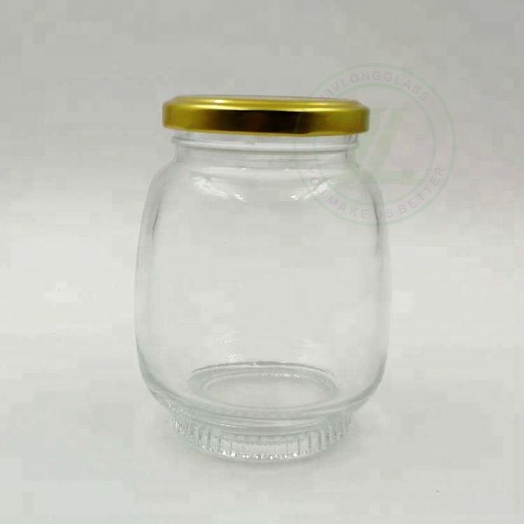 wholesale 2oz 4oz 8oz glass jar 60ml 120ml 240ml honey jar jam jar with metal lid