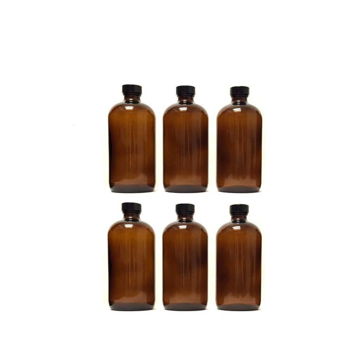16oz 500ml Amber Boston Round Shape Glass Bottle With Customize Cap