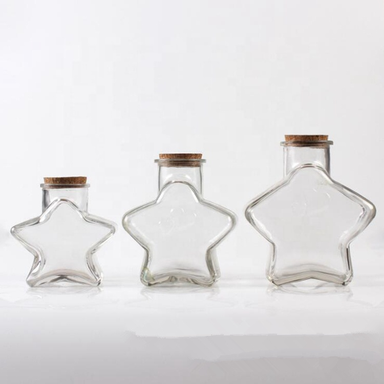 Small Middle Big Sizes Cute Star Shape Wishing Message Decoration Gift Storage Glass Bottles with Cork Top Stoppers