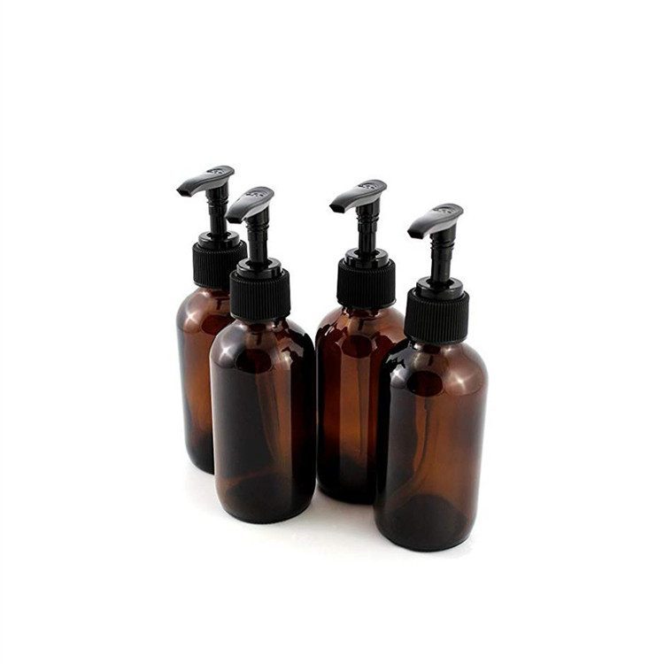 4oz Amber Glass Boston Round Bottles With Pump For Liquid Soap Lotion Shampoo