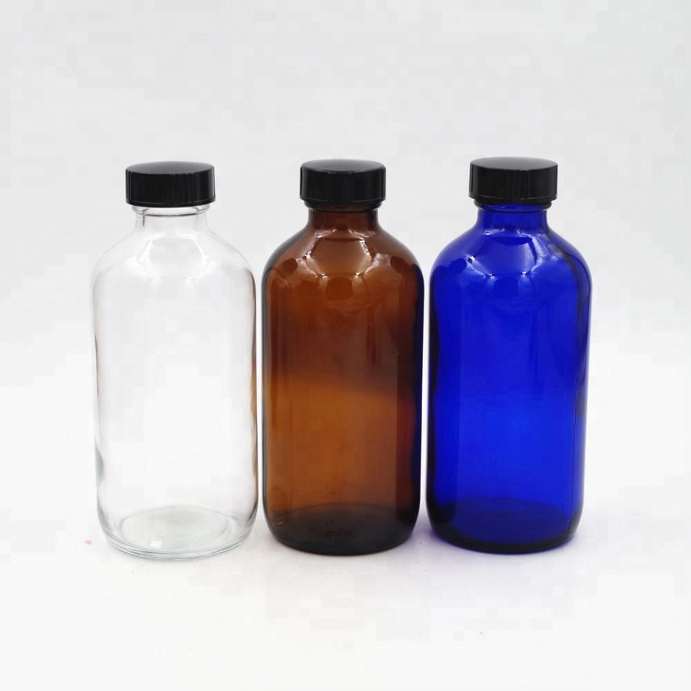 wholesale 16oz boston round bottle clear cobalt amber glass bottle with bakelite cap