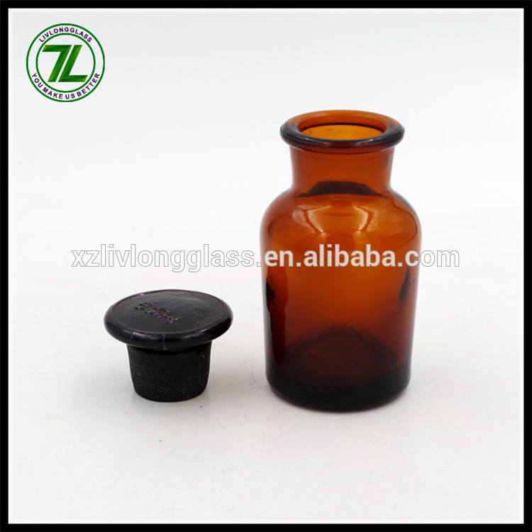 amber lab reagent glass bottle with wide mouth