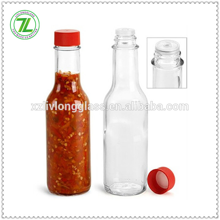 hot selling 5oz 150ml glass chili sauce bottle glass woozy bottle with black cap Featured Image