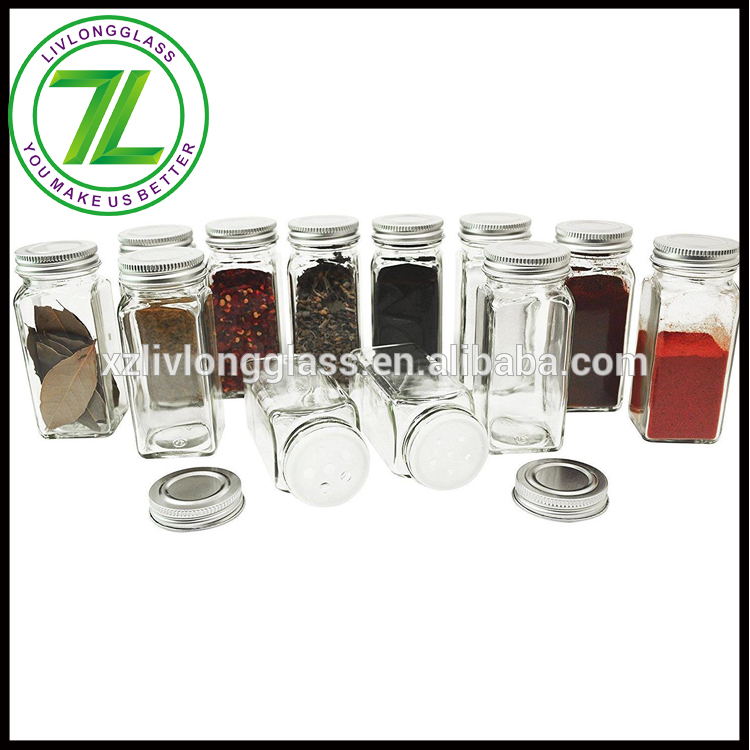 table salt and red pepper 120ml 4oz square glass spice jar with screw cap Featured Image