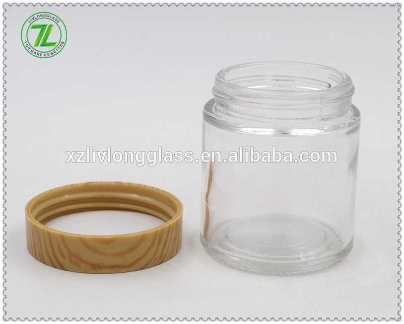 wholesale ABS plastic screw cap wood grain lid wood cap jar lid