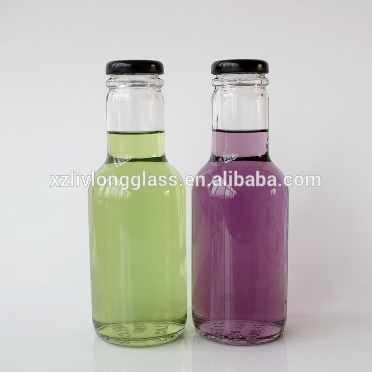 16oz 480ml Clear Glass Sauce Bottle with Black Lid