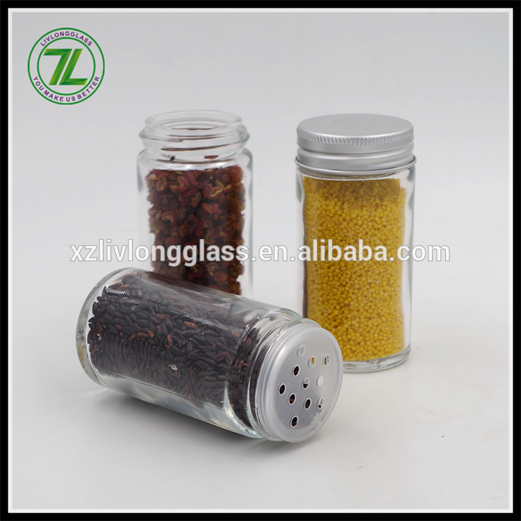 100ml Round Clear Glass Spice Herb Jar with Silver Lid