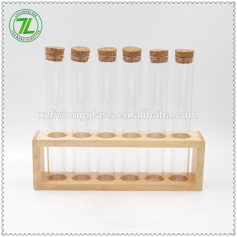 30mm diameter borosilicate tube spice jar wood spice rack with wooden rack