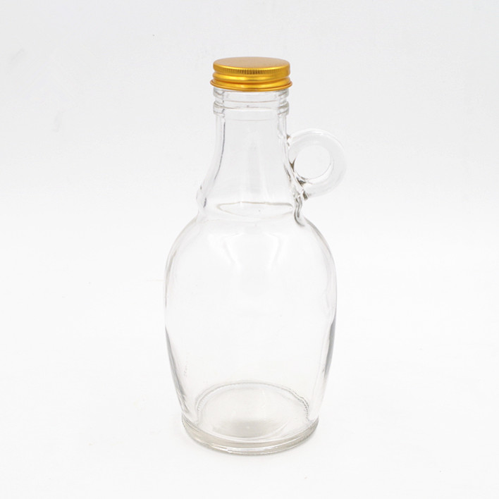 big stomach 550ml flint cooking oil glass bottle 18oz  liquor wine container glass bottle with ear handle and metal lid