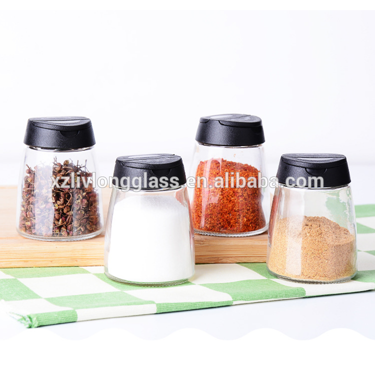 150ml Clear Glass Spice Jars with Black Sifter Lids Featured Image