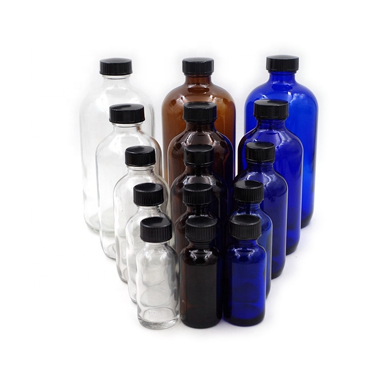 Wholesale Empty Boston Round Shape Essential Oil Glass Bottles With Screw Cap Featured Image