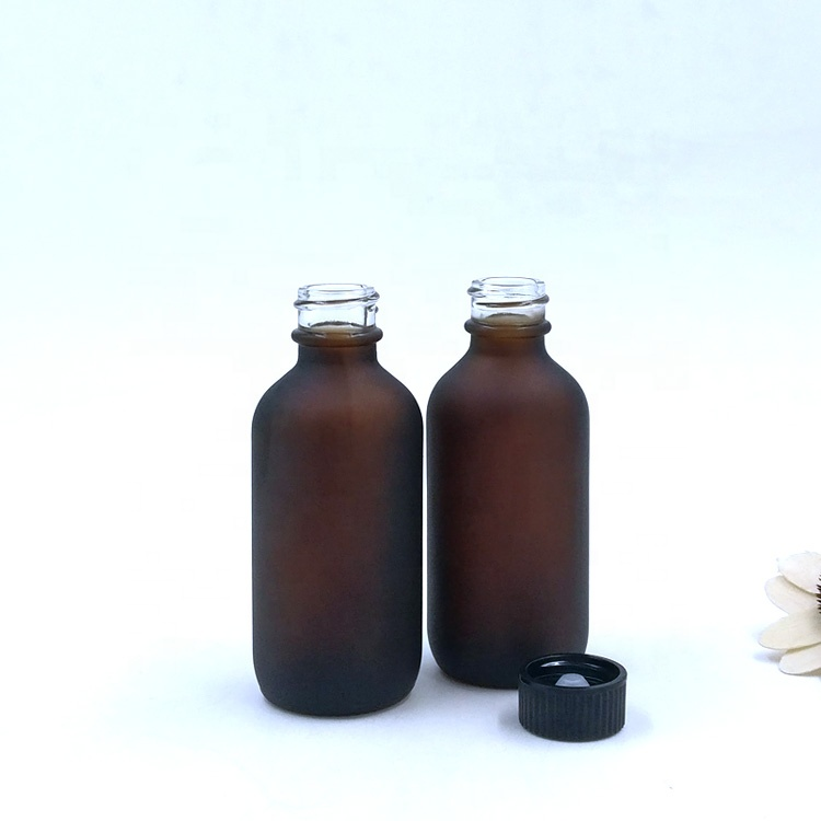 custom food grade 60ml matte amber cosmetic packaging 2oz frosted brown boston round glass bottle for essential oil aromatherapy
