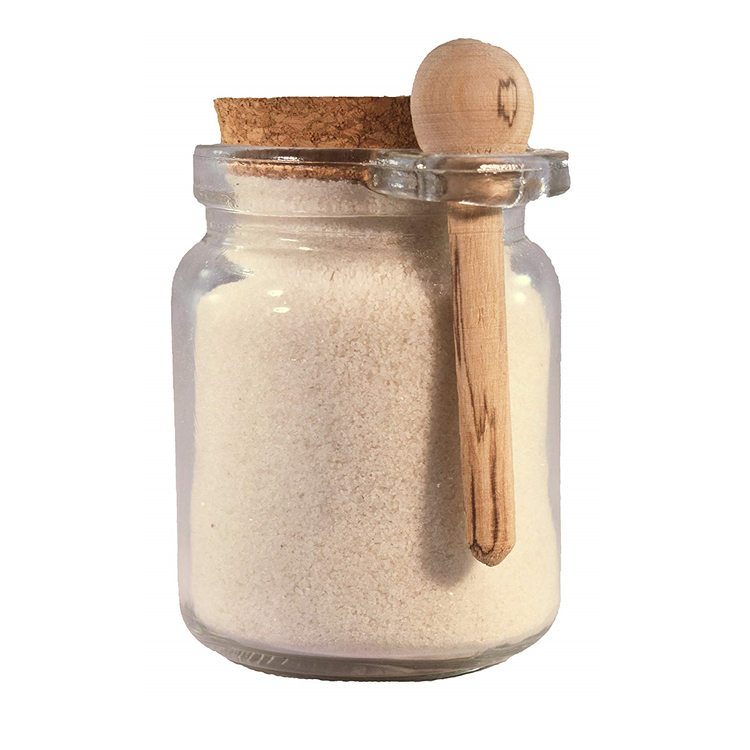 200ml Clear Sea Salt Glass Spice Jars with Wood Spoon Featured Image