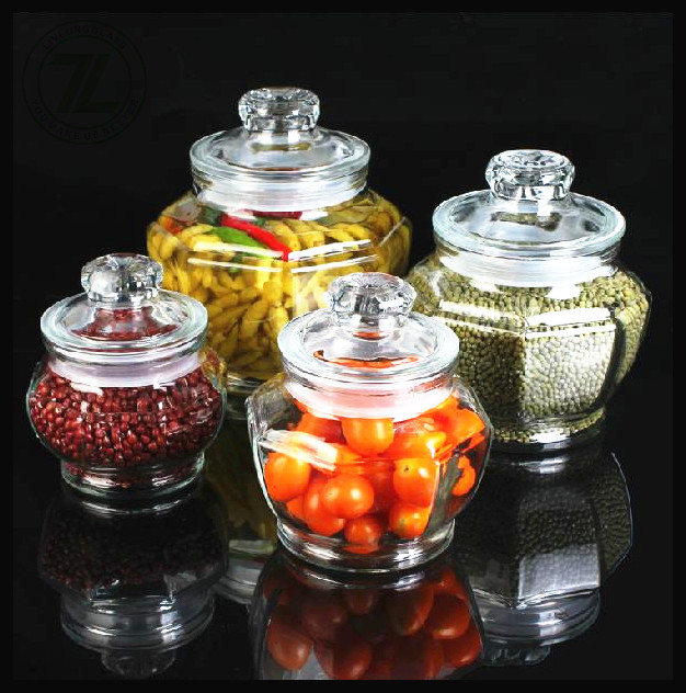 pumpkin shaped clear high capacity food  storage glass jar pickle canning pill spill medicine glass bottle with glass lid