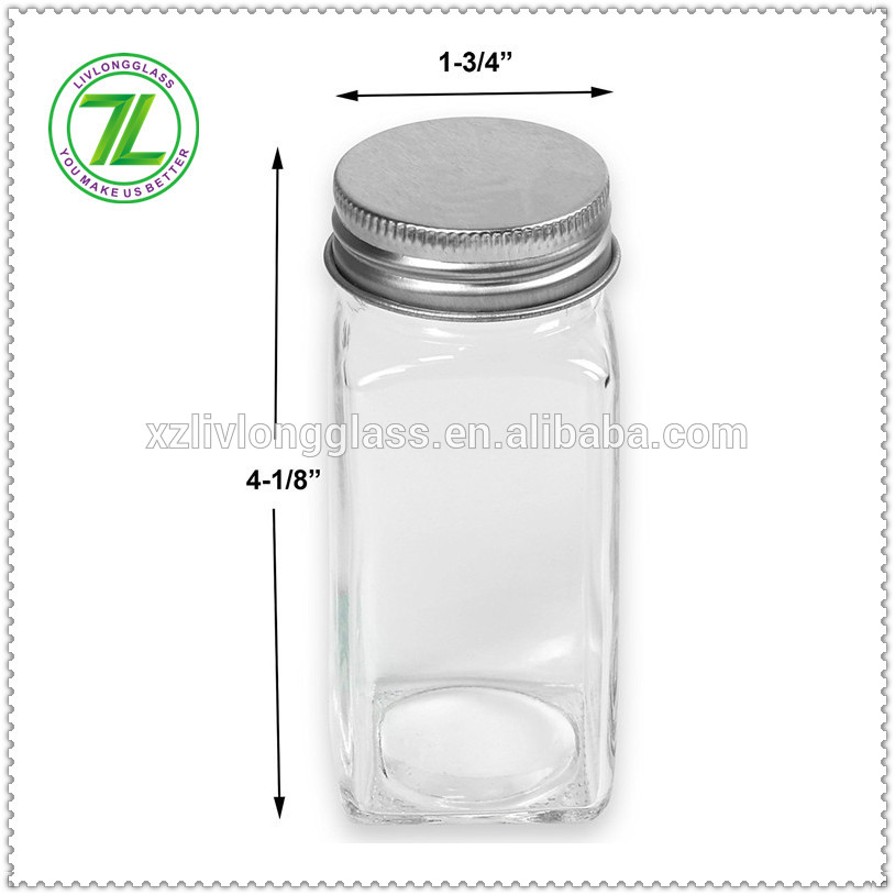 custom design 120ml glass spice jar with shaker silver metal lid and funnel
