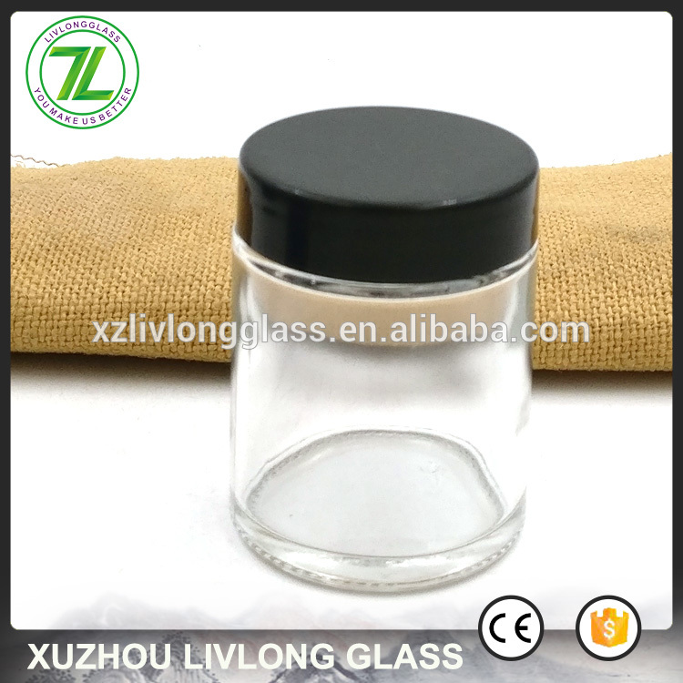 2oz straight round bottle 60ml clear glass jar with black lids