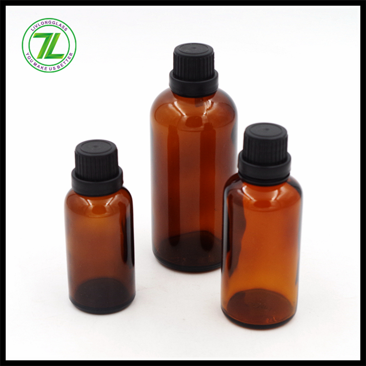 custom design 30ml 50ml 100ml amber glass bath oil bottle with screw cap