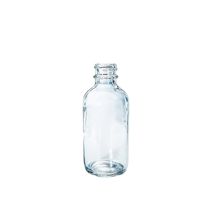 16oz Clear Glass Boston Round Dispenser Bottles With Plastic Pump For Liquid Soap Shampoo Lotion
