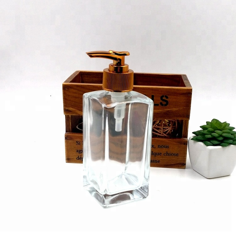 luxury designs 250ml 8oz glass liquid soap dispenser with gold pump