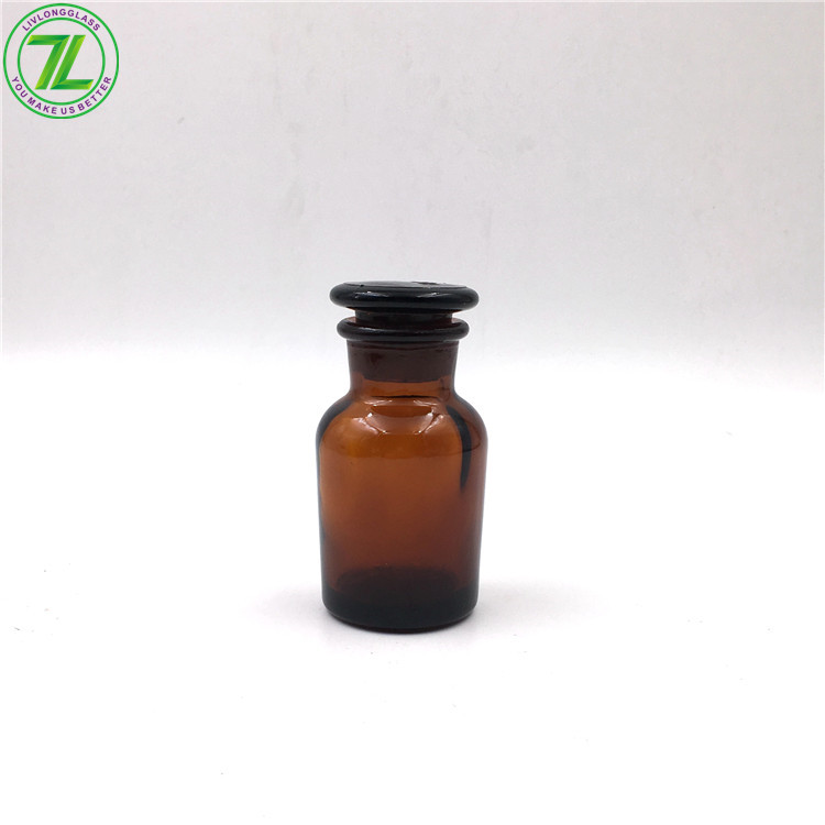 50ml Glass Reagent Bottle Ground Glass Stopper Amber Laboratory Bottle