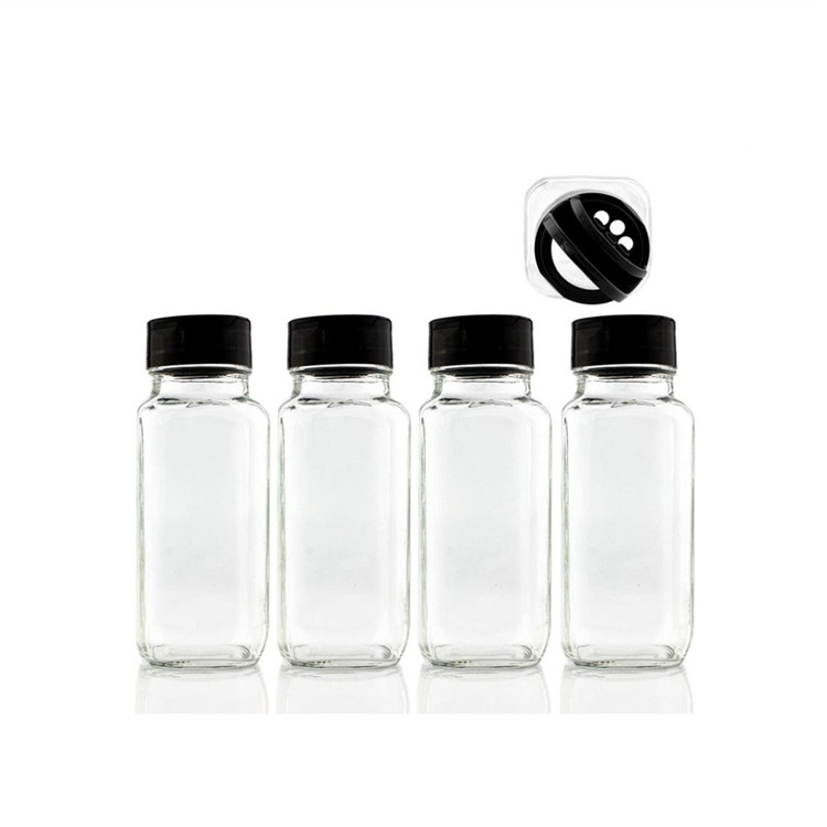8oz French Square Spice Jars With Shaker For Salt Pepper