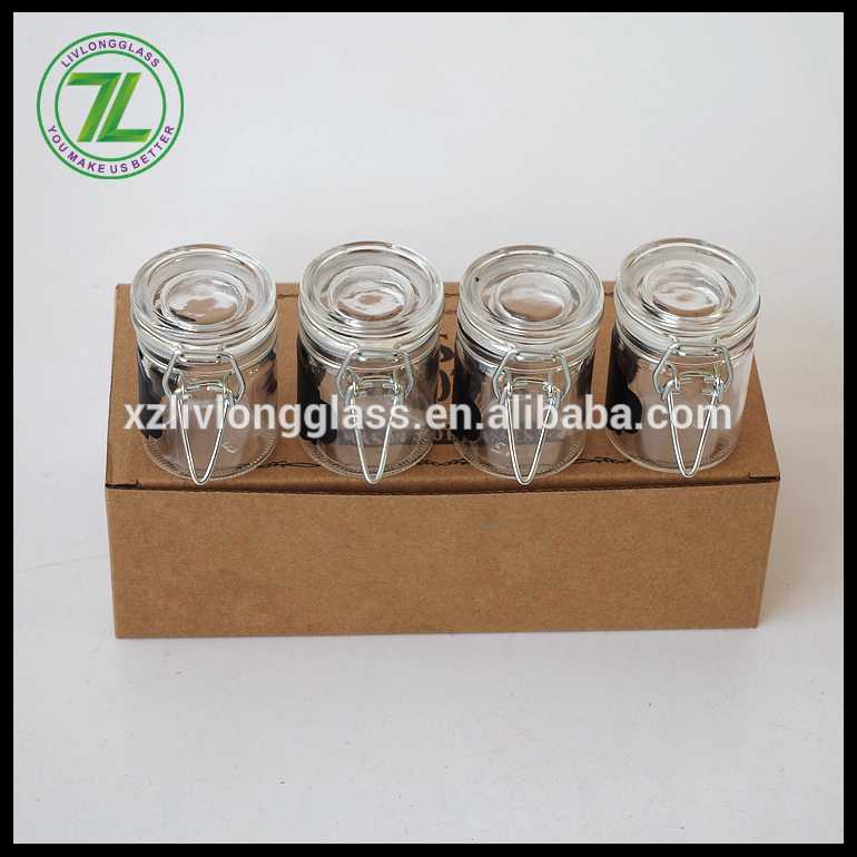 custom design 50ml 75ml spices glass jars with clip lids and chalkboard labels