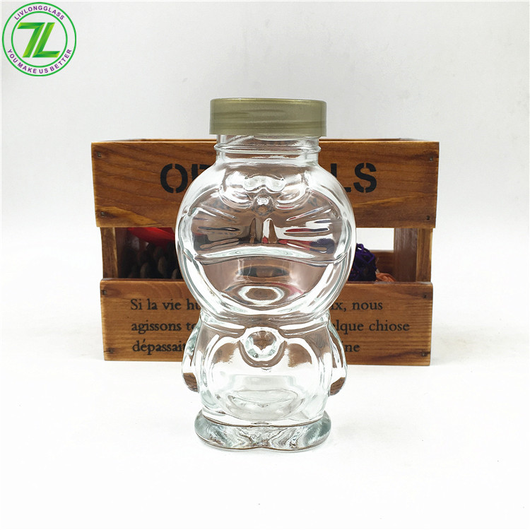 5oz 150ml Cartoon Doraemon Shaped Glass Bottle With Cap