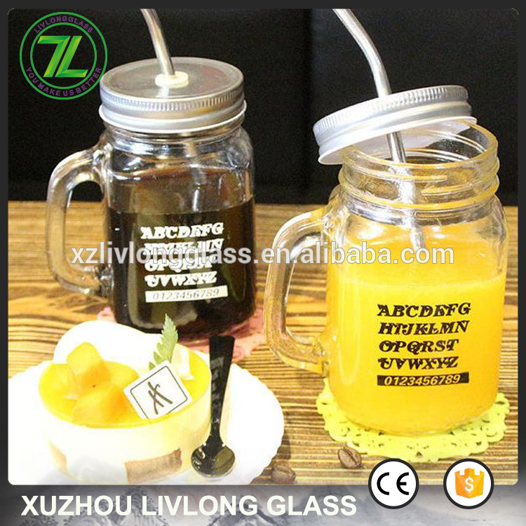 450ml iced juice jar 16oz glass drinking jar with straws and custom printed logo
