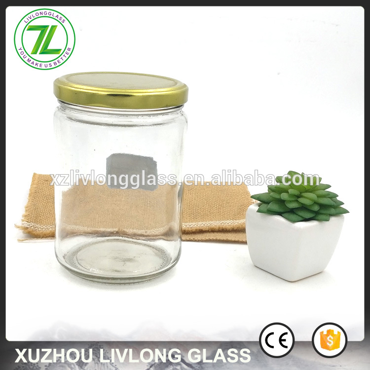 customize 500ml airtight bottle 16oz round glass jar for food sauce